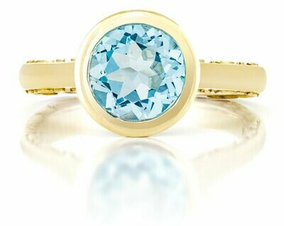Tuileries—Yellow Gold with Blue Topaz