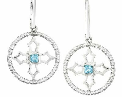 Fontana Earrings—Silver/Blue Topaz