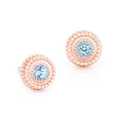 Petit Trésor Earrings—Rose Gold w/ Topaz