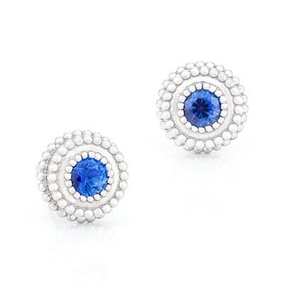 Petit Trésor Earrings—White Gold w/ Sapphire