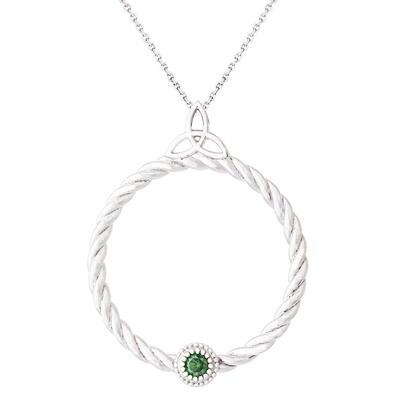CC Celtic Braid©—Silver w/ Green Diamond