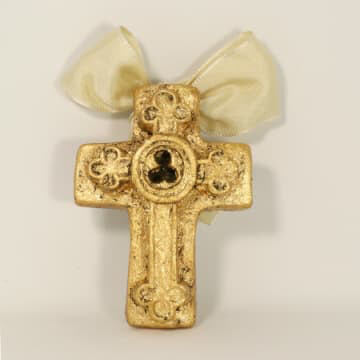 "India Stewart Double Resin Trinity Cross Ornament 4""x 3"""