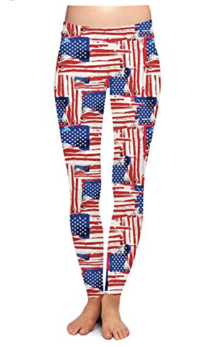 Patriotic Leggings American Flag S/M