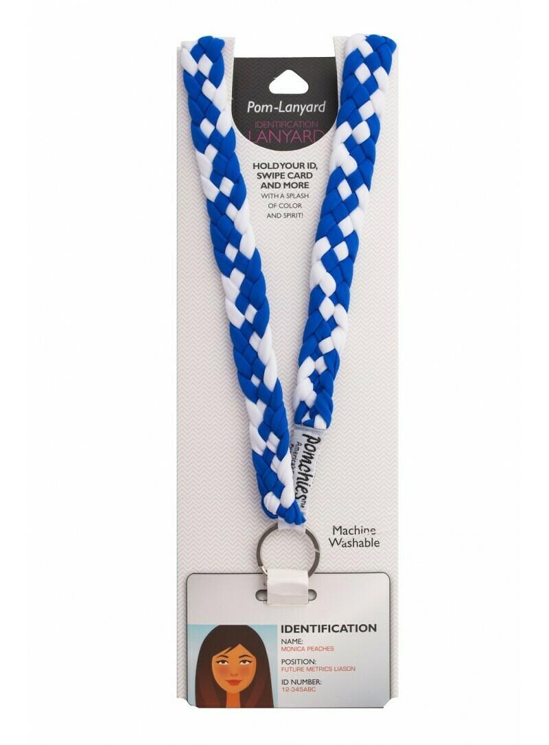 Pomchies Blue and White Braided Lanyard
