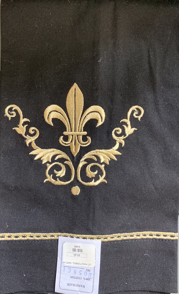 Black and Gold Fleur de lis Guest Towel