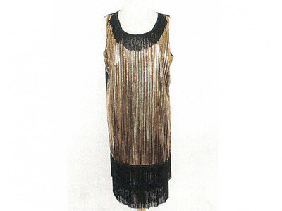 Black and Gold Sequin Saints Dress
