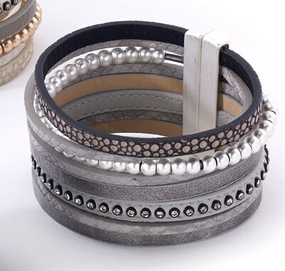 Grey Island Bracelet Multistrand Reptile/Silver