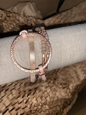 Rose Gold 4 Strand Bracelet Metal Circle