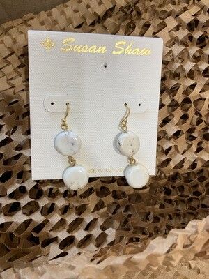 Susan Shaw White Turquoise Earrings