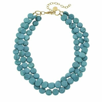 Susan Shaw Turquoise and Gold Necklace