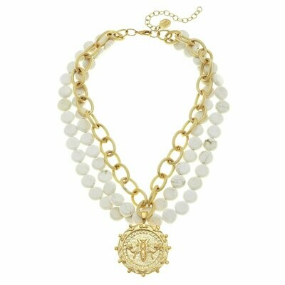 Susan Shaw Queen Bee White Turquoise Necklace