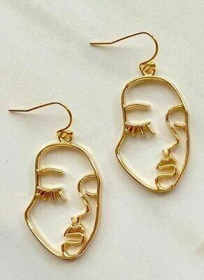 Gold Face Outline Earrings