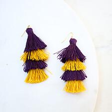 3 inch Spirit Tassel Earrings Purple/Gold