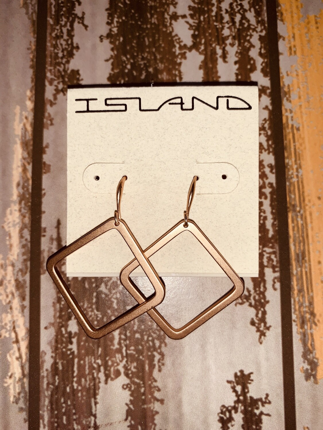 Square Dangling Copper Earrings 2 inches