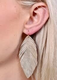 Leather Feather Drop Earrings Gold