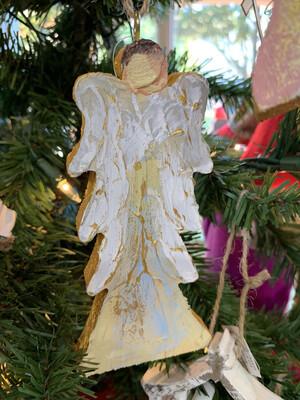 Wood Block Angel Ornament (blue)