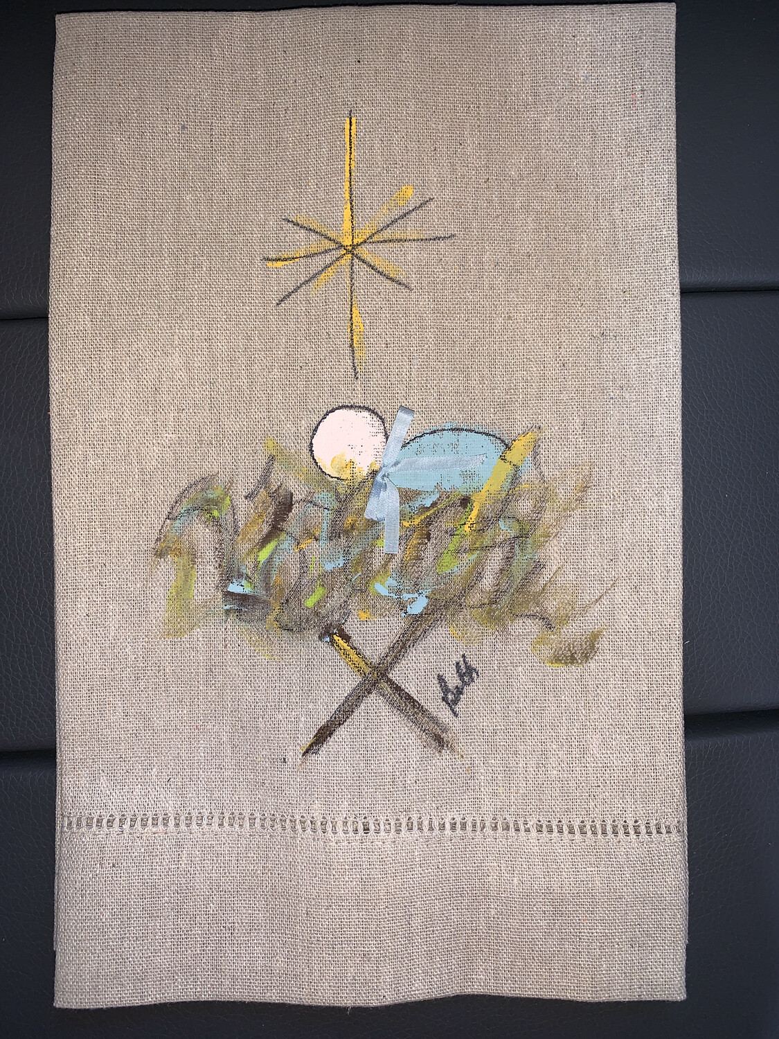 Baby Jesus Hand Painted Linen Towel (Oatmeal)