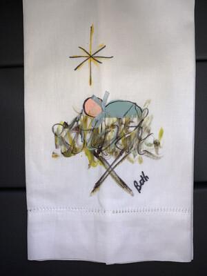 Baby Jesus Hand Painted Linen Towel (white)