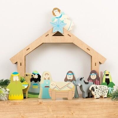 Children's Wooden Nativity Set - 12 pieces