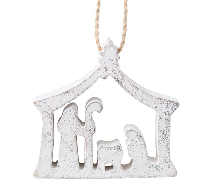 Silver Wood Nativity Ornament