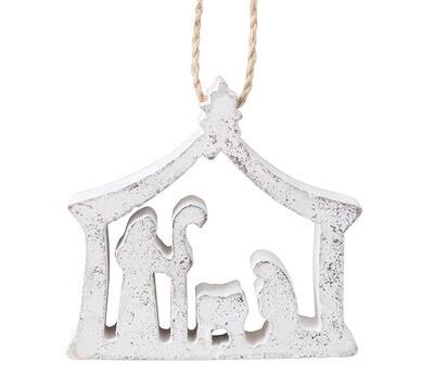 Silver Wood Nativity Ornament