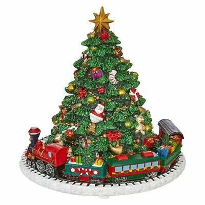 Christmas Tree with Train Music Box