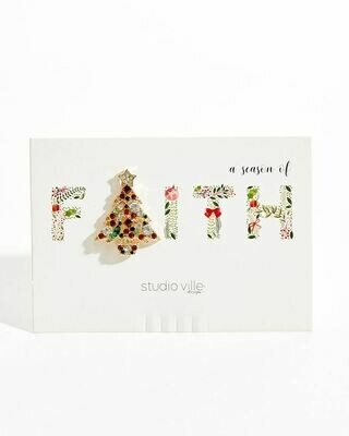 Faith Christmas Tree Holiday Glitz Brooch Pin