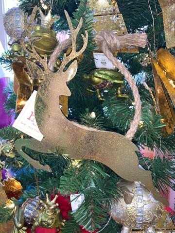 Gold Metal Deer Ornament