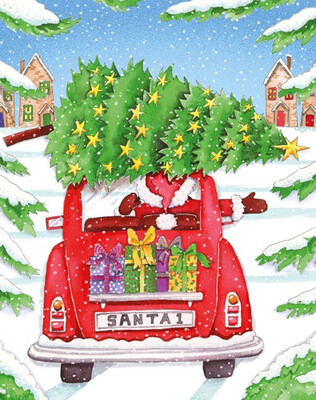 Boxed Christmas Cards Set of 16 Santa In Car Christmas Cards