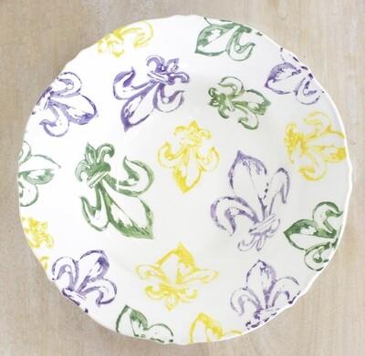 Watercolor Mardi Gras Fleur de Lis Serving Bowl