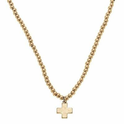 Cross Ball Bead Necklace In Worn Gold