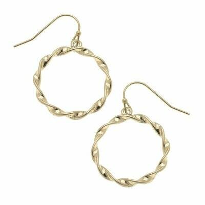 Small Circle Earrings in Worn Gold