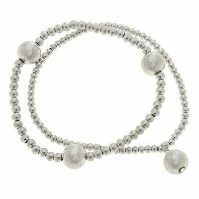 Layered Sphere Bracelets In Worn Silver Spheres (Set of 2)