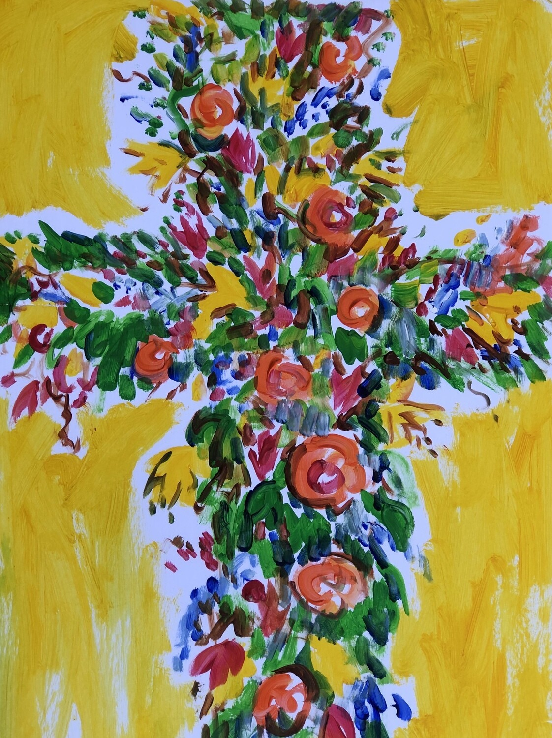"""11x14"""" posters of Tim Trapolin's beautiful floral Trinity Easter Cross"""