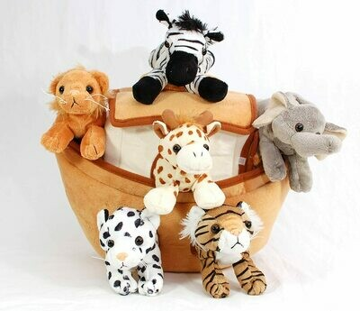 Plush Noah's Ark with Animals - Six  Stuffed Animals in Play Ark Carrying Case
