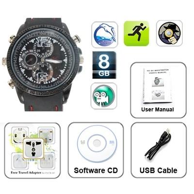 Waterproof High Definition Spy Fashion Watch with Hidden Camera - 8GB