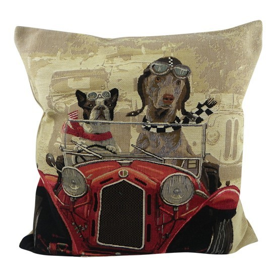 Belgian tapestry - DOGS IN RED CAR