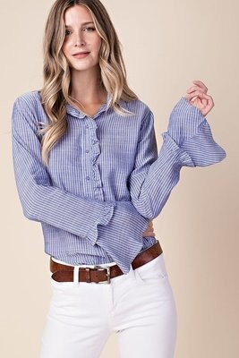 Button Down Ruffle Sleeve Shirt