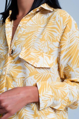 White Blouse w/Mustard Palm Print