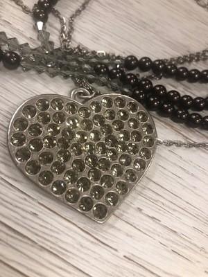 Sisilia Chocolate Pearl Heart Necklace
