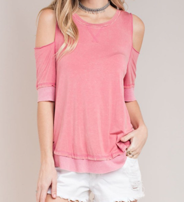 Open Sleeve Stone Washed Top