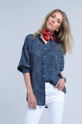 Navy Polka Dot Long Line Top