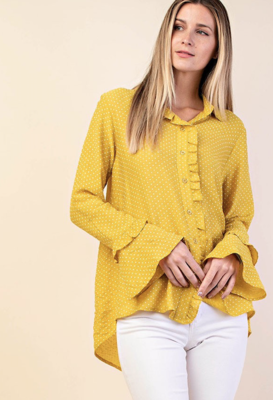 Placket Dot Button Down Top