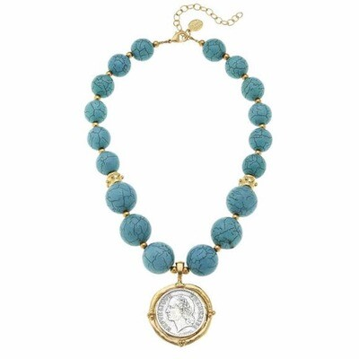 Genuine Turquoise Handcast Gold and Silver