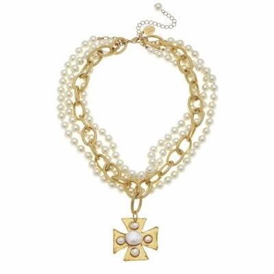 Gold Maltese Cross Necklace