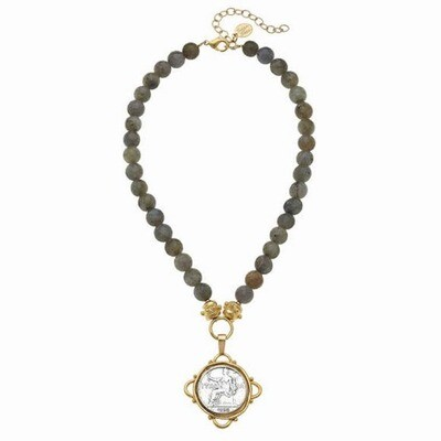 Handcast Gold & Silver Italian Coin on Necklace