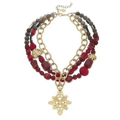 Cross &  Semi Precious Stone Necklace