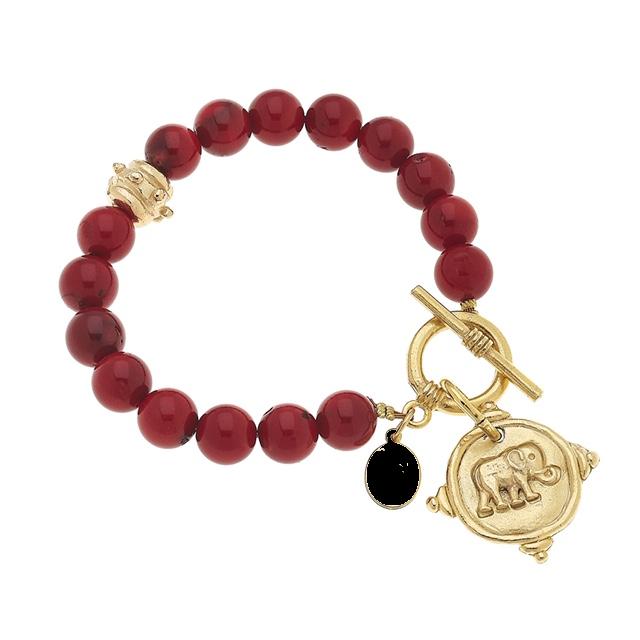 Red Coral Elephant Bracelet