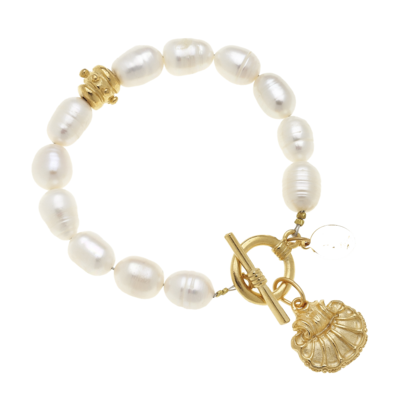 Scallop Shell on Genuine Freshwater Pearl Bracelet