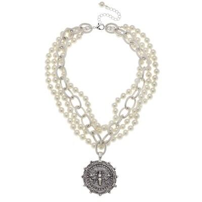 Silver Bee Multi Strand Necklace